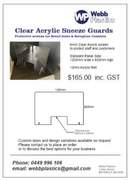 Clear Acrylic Sneeze Guards