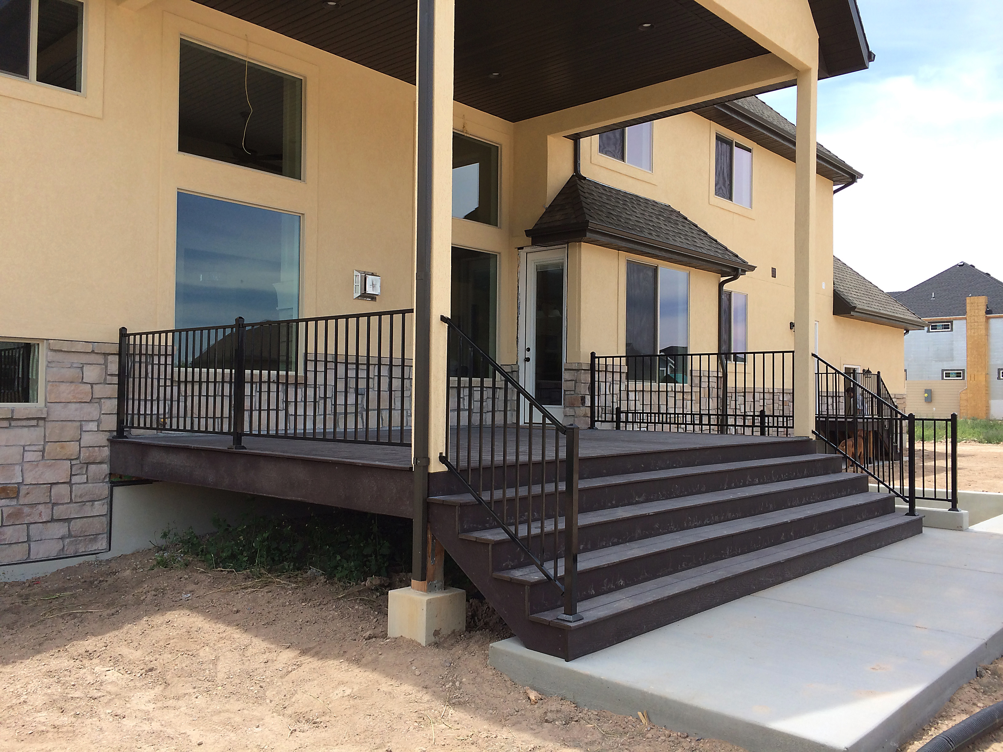 New home construction deck, railing,