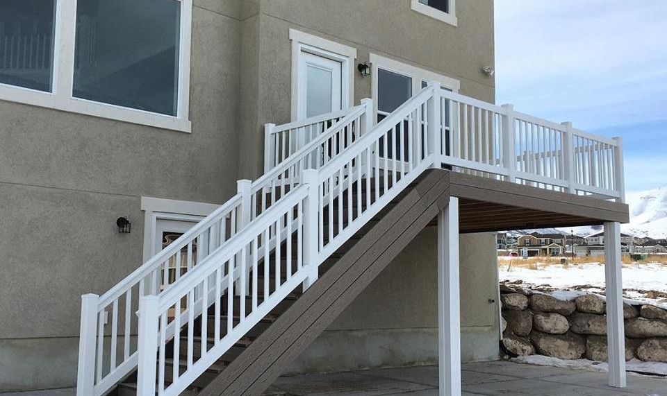 New home construction timbertech deck