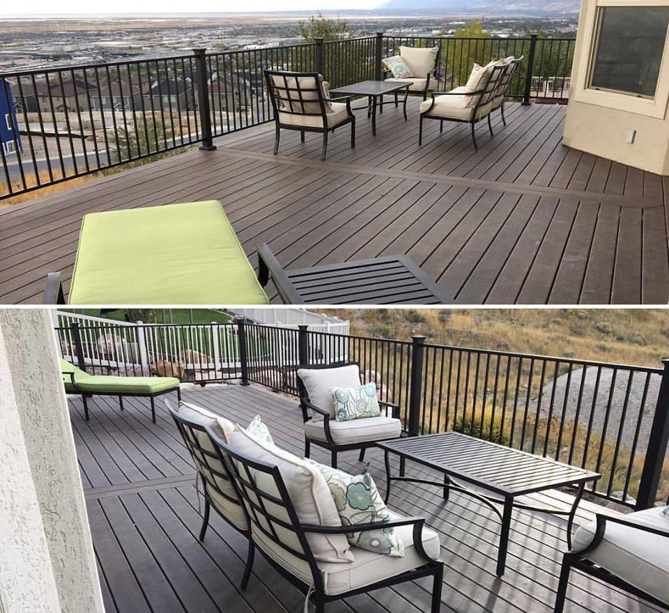 Timbertech deck with black metal railing