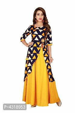 Stylish Printed Heavy Rayon Floor Length Gown For Women