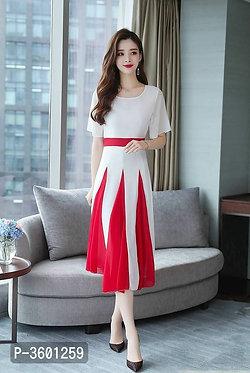 Women's Georgette Self Pattern Midi Length Dress