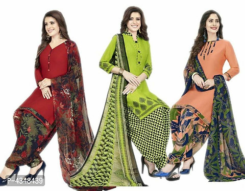 Stylish Multicoloured Crepe Printed Dress Material With Dupatta (Combo Of 3)