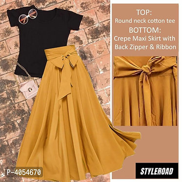 StyleRoad - Cotton Top - Crepe Skirt With back Zipper and Ribbon Set
