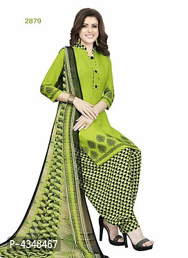 Stylish Multicoloured Crepe Printed Dress Material With Dupatta