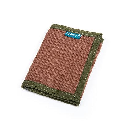 Hemp Tri-Fold Wallet, Brown with Green Trim