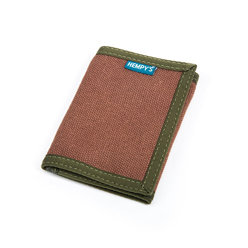 Hemp Tri-Fold Wallet, Brown with Green Trim