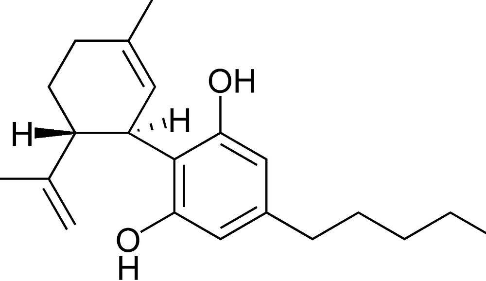 The chemical diagram representing the Cannabinoid CBD