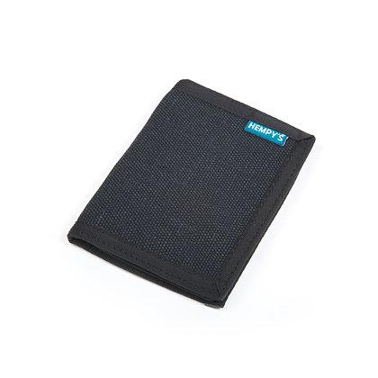 Hemp Bi-Fold Wallet, Black with Black Trim