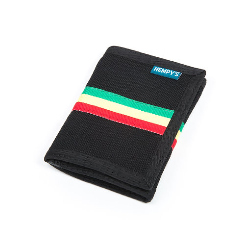 Hemp Tri-Fold Wallet, Black & Rasta with Black Trim