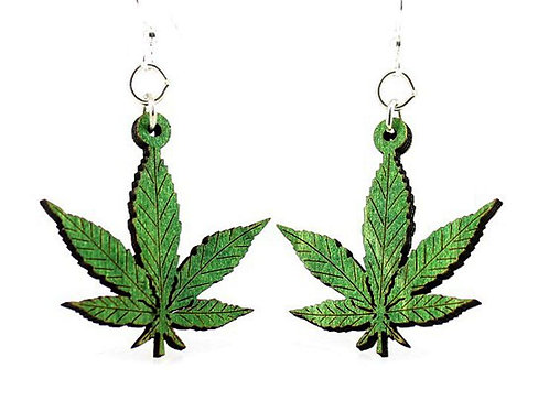 Green Tree Jewelry Hemp Leaves Earrings