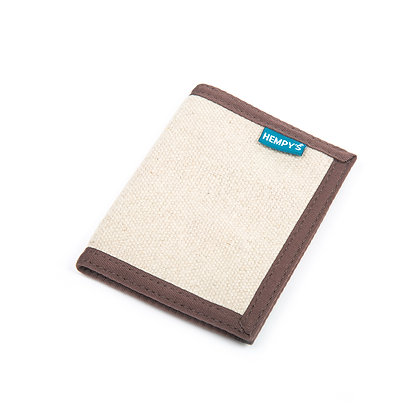 Hemp Bi-Fold Wallet, Natural with Brown Trim