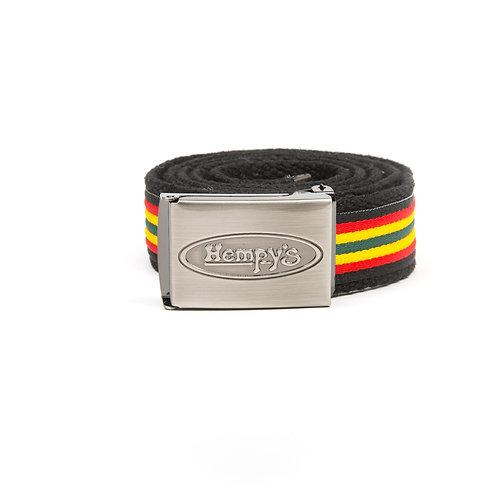 """Hemp Banzai (1.25"""") Belt, Black with Rasta Trim"""