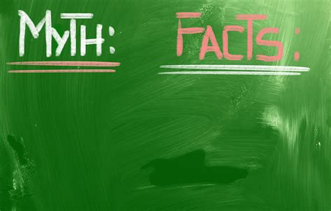 Layout for myths versus facts chart on chalkboard surface.