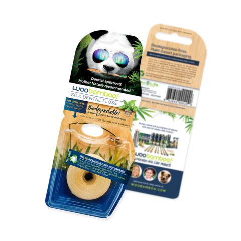 WooBamboo's Silk Dental Floss is made from Natural Materials, no petroleum, and the packaging is both the dispenser and biodegradable, minimizing waste.