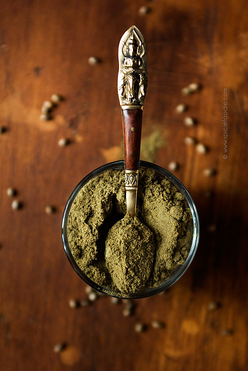 Hemp flour and a spoon for use in baking.