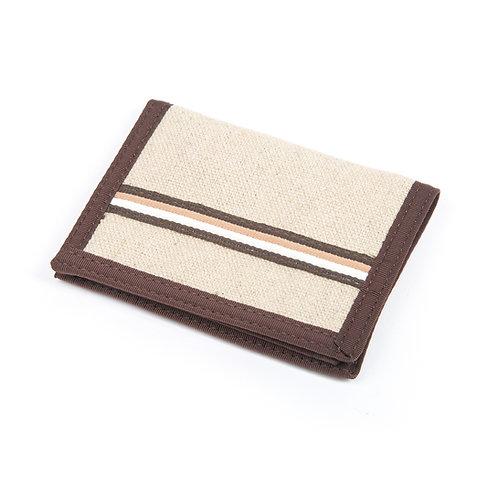 Hemp Bi-Fold Wallet, Natural & Stripe with Brown Trim