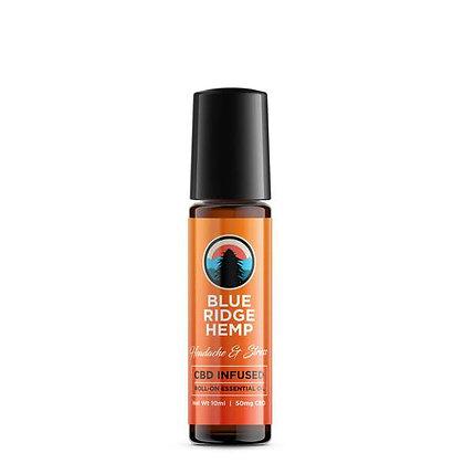 Blue Ridge Hemp CBD Infused Essential Oil Roll-On,Headache + Stress (10mL/50mg)