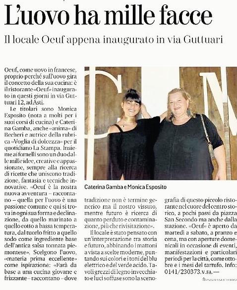 Apre il ristorante Oeuf, nel centro storico di Asti. Le chef e titolari sono Caterina e Monica.