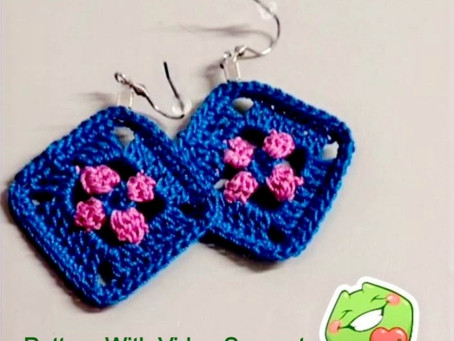 Free Quick Wip available in UK Terms -                                Granny Square Flower Earrings