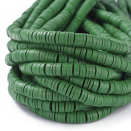 Perles Heishi vert forêt