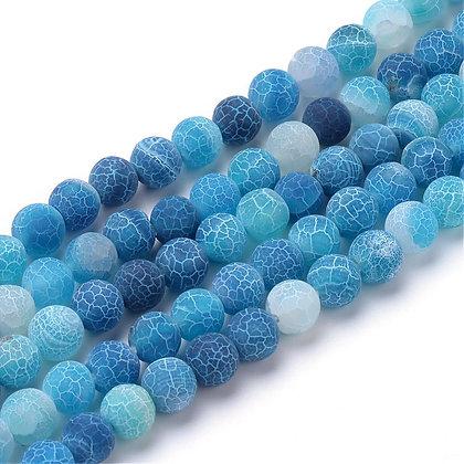Agate efforescente bleue givré 8~8.5mm
