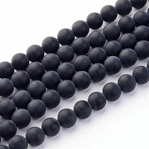 Agate Noire Givré 8mm