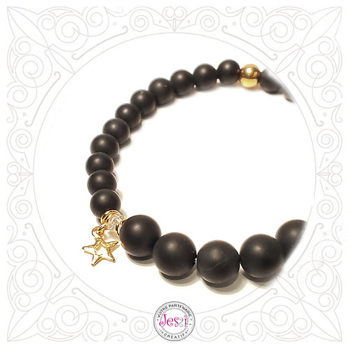 Bracelet Agate noire givrée