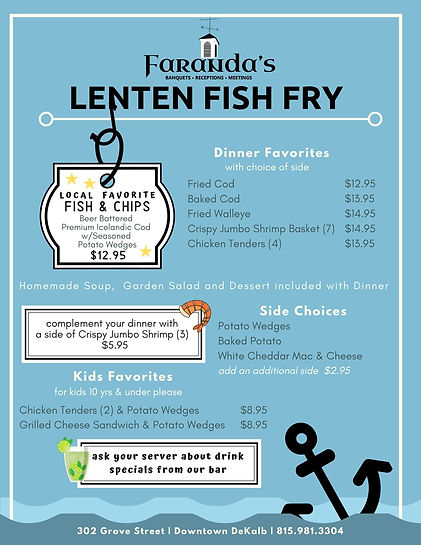 Lenten Fish Fry Menu 2020