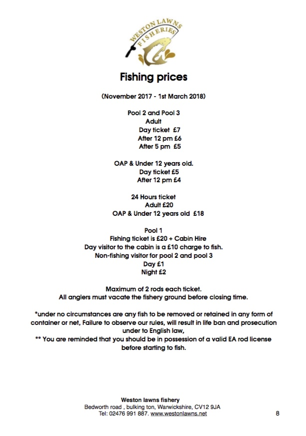 Fishing prices