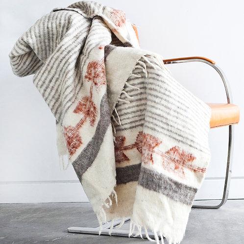 Traditional Momo Blanket - Grey / Cayenne