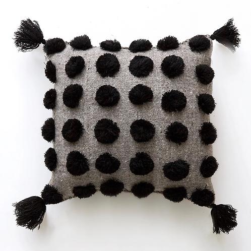 Pom Pom Pillow - Black on Grey