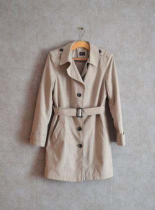 Siwy popelinowy płaszcz z paskiem L
