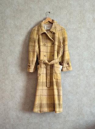 Modny długi płaszcz z wełną w kratę L - XL