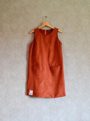 """Ruda sukienka w kroju litery """"A"""" L - XL"""