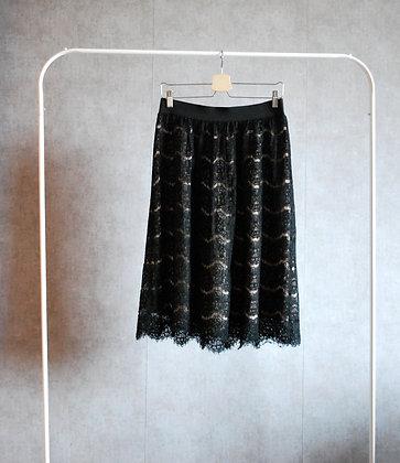 Spódnica koronkowa z kremową podszewką M - XL