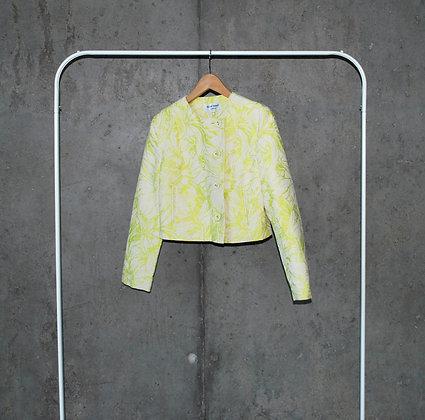 Limonkowy wiosenny żakiet w kwiaty S - M