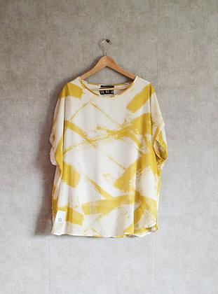 Biała bluzka o luźnym kroju w żółty wzór XL
