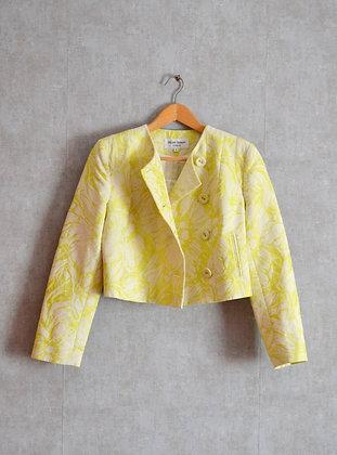 Limonkowy żakiet w kwiaty S - M