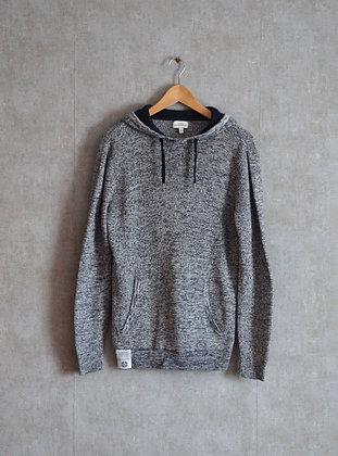 Sweter szary melanż z kapturem S