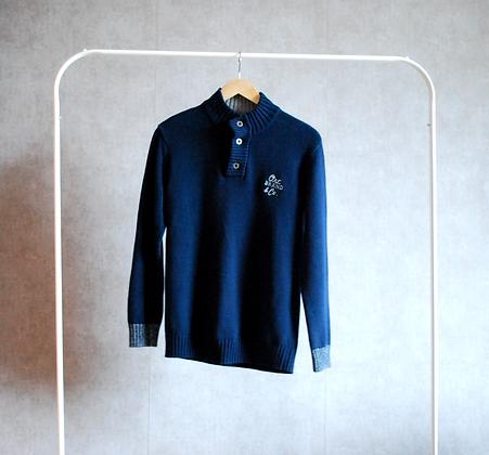 Granatowy sweter z rozpinaną stójką XS