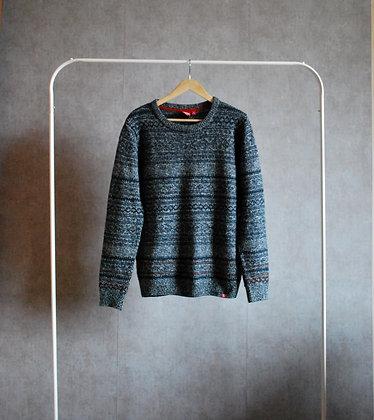 Sweter granatowo-szary melanż S