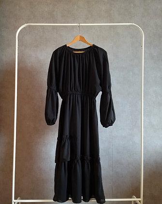 Zwiewna sukienka midi z falbanami M - L