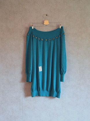 Turkusowa sweterkowa tunika z ozdobnym dekoltem L