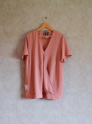 Bluzka luźna zgaszony róż XL - 3XL