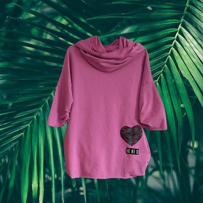 Afrobluza fioletowa z bordowym sercem