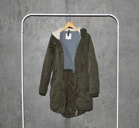 Zielona ciepła kurtka z kapturem XS