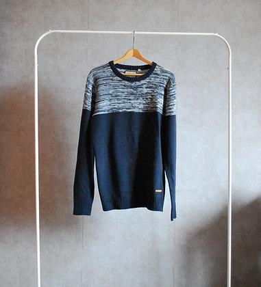 Sweter granatowo szary L