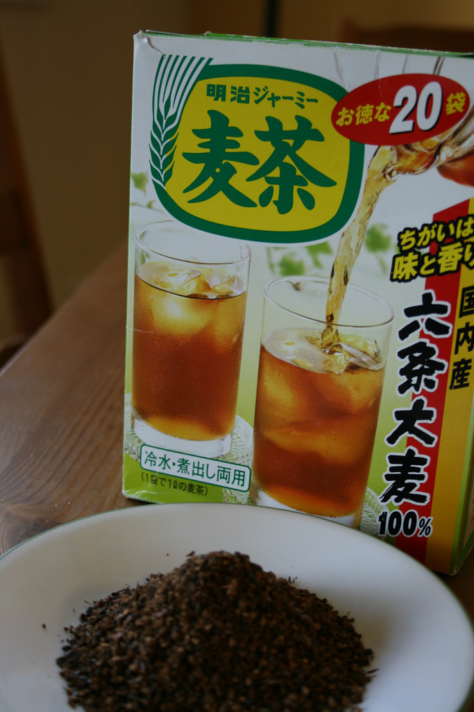 Roasted Barley tea. I get this brand at the local asian grocery store.