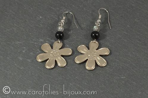 Boucles d'oreilles en bronze blanc